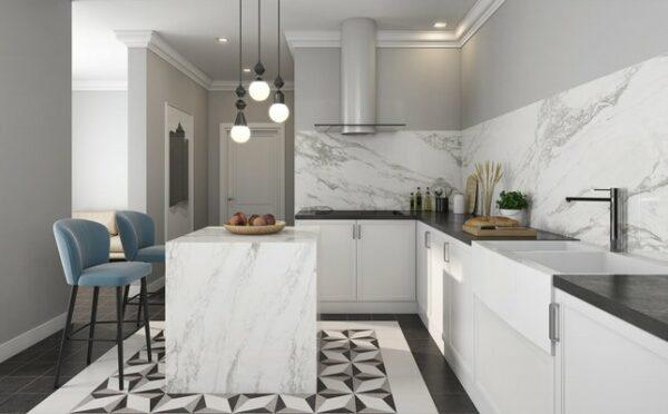 carrelage effet marbre -cuisine -salle de bains